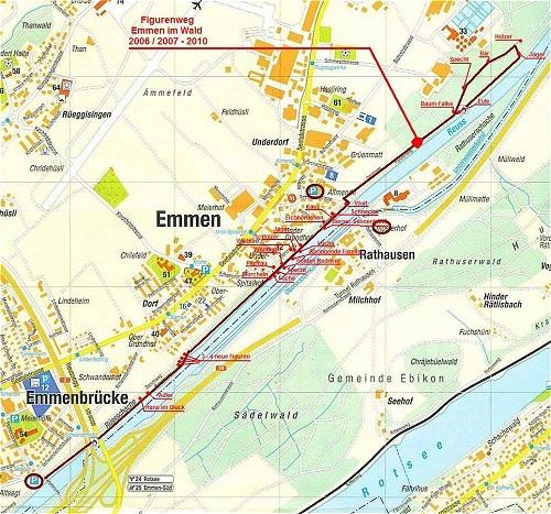 Karte linkes Reussufer Emmen